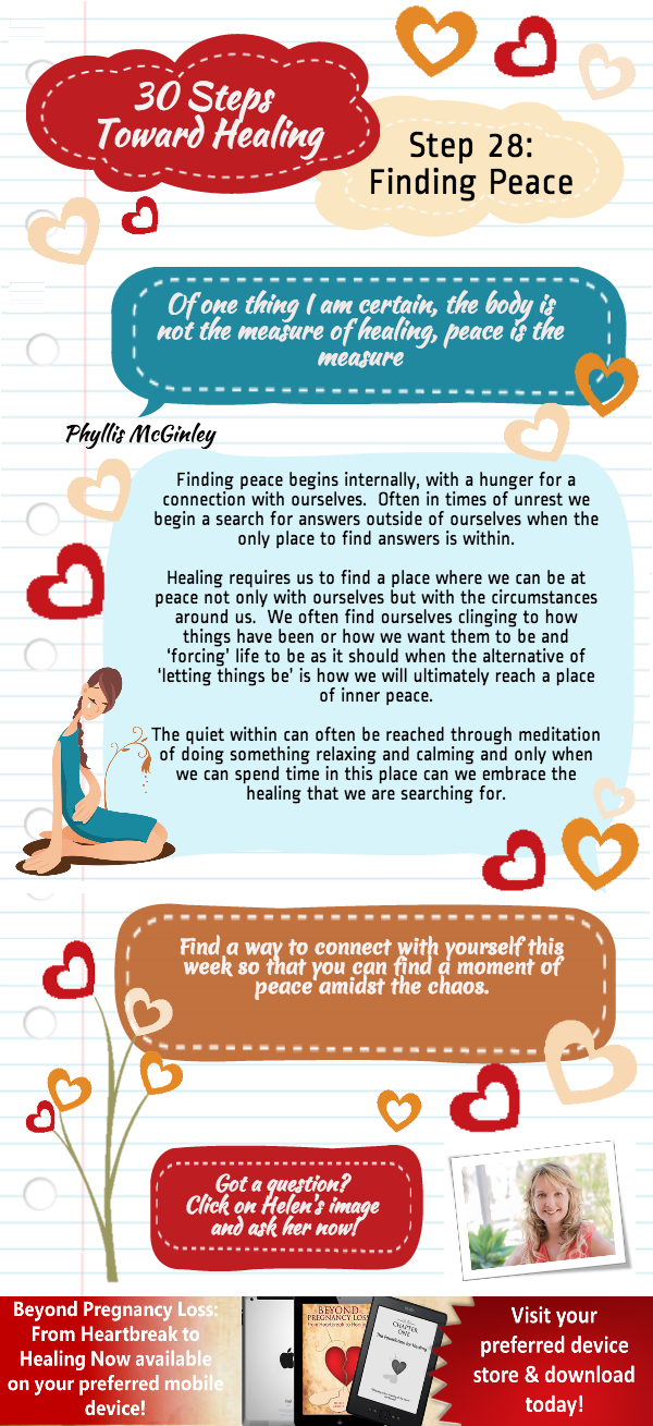 Beyond Preganancy Loss -Finding Peace - Step 28 of 30 Steps Towards Healing - Infographic