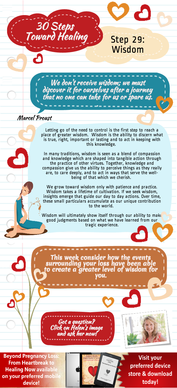 Beyond Preganancy Loss -Wisdom - Step 29 of 30 Steps Towards Healing - Infographic